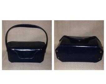 Anniversary Sale Vintage Blue Patent Leather Handbag
