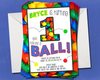 Bouncy Ball Birthday Party Invitation - 1st Birthday - Ball Pit Party