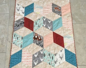 Summer Quilt Sale Woodland creatures baby quilt - gender neutral baby quilt - nature theme baby quilt - soft natural colors