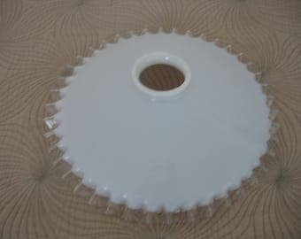Antique French Opaline Glass Frou- Frou Pendant Ceiling Lampshade Lamp Shade Milk Glass Ceiling Light with Frilly Clear Glass Edge