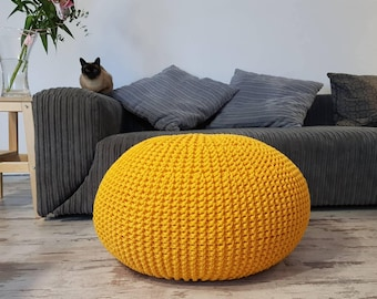 Perfect Knitted Pouf   Colours, Yellow, Seat, Crochet Pouf, Ottoman, Footstool