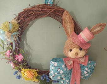 Grapevine Easter Pink bunny Wreath