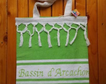 Tote bag/shopping bag 754 pistachio green cotton with embroidery and fringe