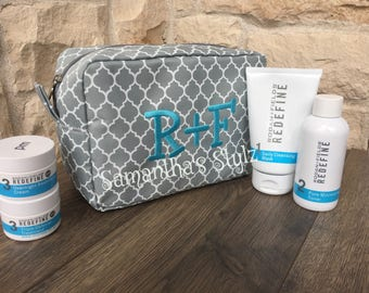 Quatrefoil Embroidered R+F Cosmetic Bag, Adveritse R+F, Custom Rodan and Fields Regimen Bag,  R + F Swag, Monogrammed R+F Bag
