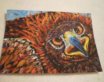"""ACEO- Golden Eagle- 2.5"""" x 3.5"""" Artists Trading Card, Original Painting, Acrylic"""