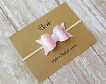 Glitter bow headband, baby bow headband, baby headband, pink bow headband, Newborn headband, girl bow headband, hair accessories