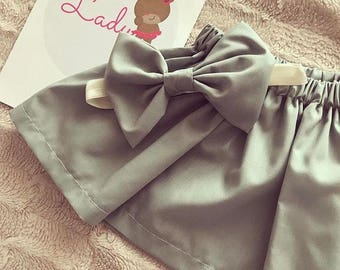 Girls Sage green skirt and bow set,baby girls skirt, baby girls outfit, green skirt, baby girl green skirt