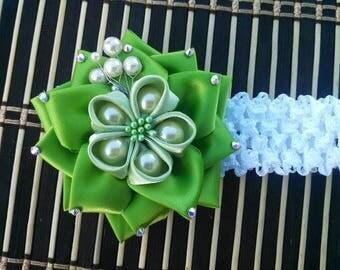 Green Kanzashi Headband. St. Patrick Headband. Kanzashi Flower.