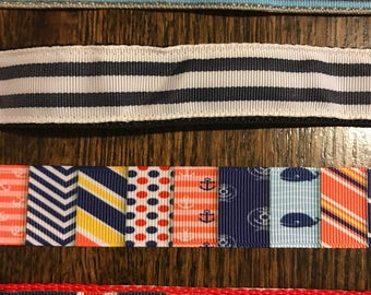 "1"" Nautical and stripes adjustable dog collars"