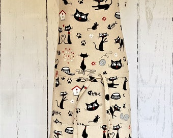 Handmade Cool Cats Apron. Cooking Baking BBQ Barbecue Gardening Apron. Size S to XXL.