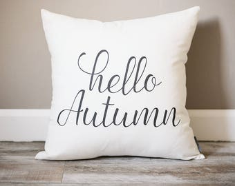 Hello Autumn Pillow | Fall Decor Pillow |  Rustic Fall Decor | Farmhouse Decor | Autumn Decor | Fall Pillow | Fall Decor | Accent Pillow