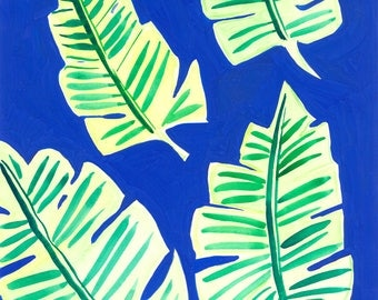 Blue and Green Ferns Print
