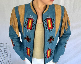 Mexican Designer Rojo Embellished And Appliqued Vintage Jacket Jean Jacket Leather Jacket Western Statement Jacket Size Small