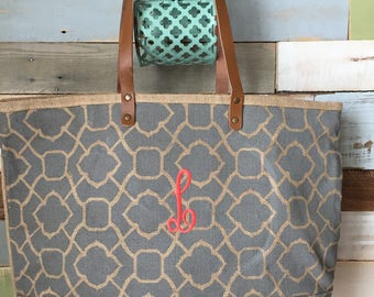Monogrammed Tote, Personalized Tote, Jute Tote Bag, Monogrammed Bag, Beach Bag, Tote Bag, Jute Bag,Shoulder Tote, Bridesmaid Gift