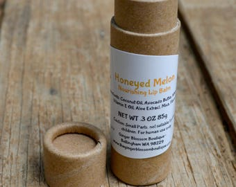 Honeyed Melon Nourishing Lip Balm, Natural, melons, Fruity, Travel, Honey, Lip Care, Health and Beauty