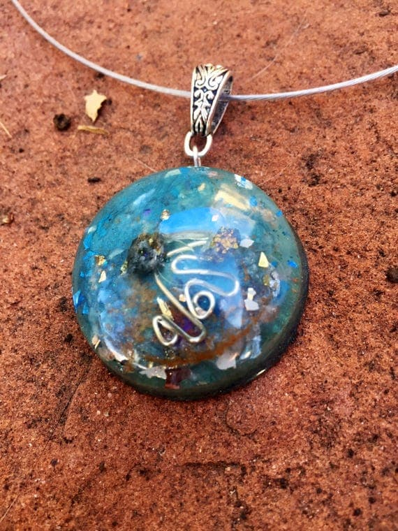 Blue Ocean Orgonite® Orb- Spirit Guide Crystal Messages Orgone Pendant- Water Element Orgonite® for Psychic Energy, Clairvoyance & Guidance