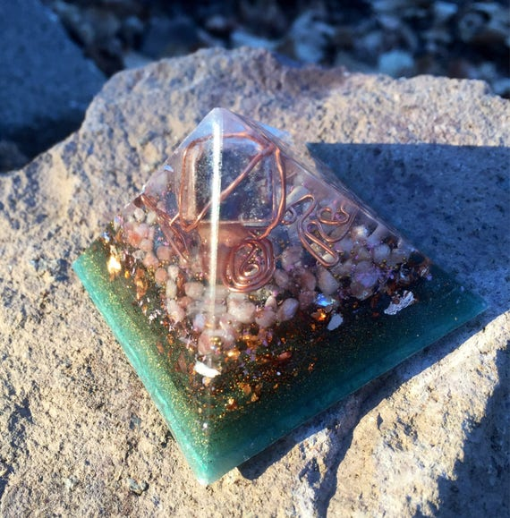 Sunstone and Jasper Orgonite® Pyramid w/LED Base- Abundance & Emotional Independence  Pyramid- Gnosis Orgone Secrets Illuminated Pyramid-