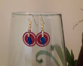 Red and blue filigree earrings