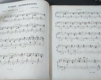 Antique French Music Sheet Book 1890- R Wood - Etudes Harmonieuses