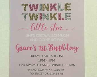 Pack of 10 ~ Twinkle Twinkle Little Star invitations