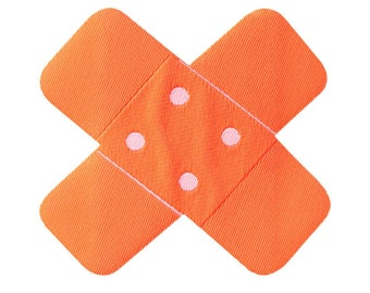 Aufnäher / Bügelbild - Pflaster Flicken – neon orange – 7x7cm - by catch-the-patch® Patch Aufbügler Applikationen zum aufbügeln Applikation Patches Flicken