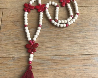 Bohemian necklace beads and Red butterflies