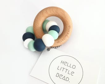 Teething Toy OCEAN - Silicone and Beech Teething Toy Chunky Silicone Teething Ring - Baby Teether - Wooden Teether