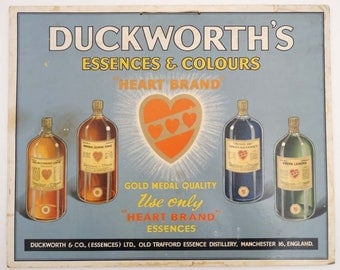 Shop advertising Sign : a polychromed hanging Duckworth's Essences & Colours ' Heart Brand '..