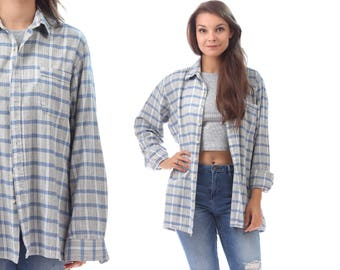 Plaid Flannel Shirt Men's Jacket 90s Grunge White Blue Faded Lumberjack Shirt Oversize Long Sleeve Men Women Button Up Vintage Large