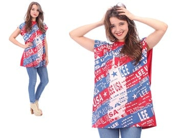 Tee Dress 90s Independence Day Print Red White Blue Oversized T-Shirt Sleeveless Printed Cotton Tank Top Cut Off Sleeve Muscle Tee size XL