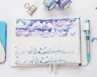Clouds & Water Splash Washi Tape - Planner, Journal, Craft, Scrapbooking, Decoration