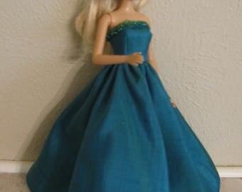Barbie doll clothes-long aqua beaded