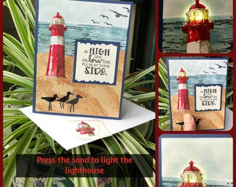 LED-Lit Lighthouse Card - LED light will light when sand pressed, sand, birds, beach, DawnsBlanchCards, You Choose the Occasion