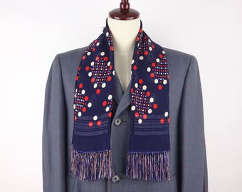 1950s Vintage Navy Rayon Scarf / White, Red, Blue Polka Dot / Geometric Watermark / Christmas / Gift / Muffler - Excellent