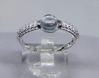 Ring Sterling Silver and Blue Topaz (1.45 cts) size 54