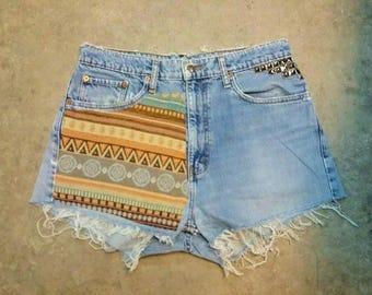 Custom Hight Waisted Vintage Jeans Short