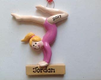 Personalized Blonde Girl Gymnast , Gymnastics Christmas Ornament Team Gift- Free Personalization