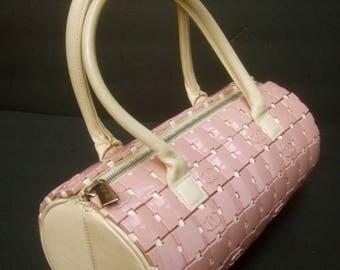 CHANEL Rare Mauve Pink Lucite Tile Cylinder Handbag