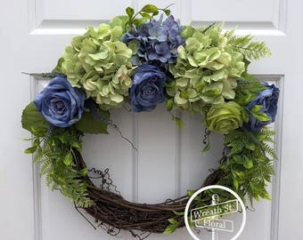 Spring Wreath, Hydrangea Wreath, Rose Wreath, Lavender Wreath, Wreath Street Floral, Summer Wreath, Grapevine Wreath, Year Round Wreath