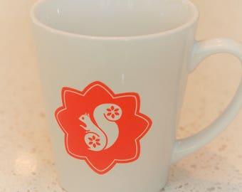 Edward Squirrel latte mug in orange, children's mug, coffee mug, scandi lifestyle