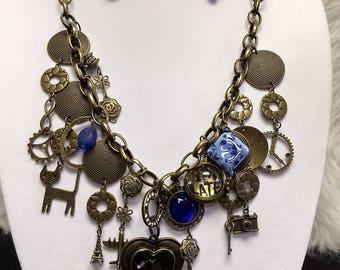 Antique brass necklace set