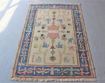 4'1''x6' Turkish Oushak Rug, Vintage Handwoven Rug, Bohemian Rug