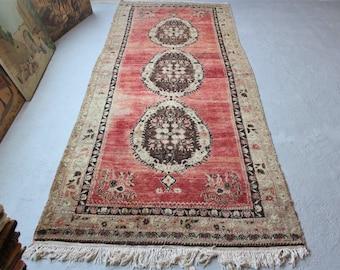 4'10''x12' Oushak Runner Rug, Vintage Turkish Rug, Handwoven Wool Rug