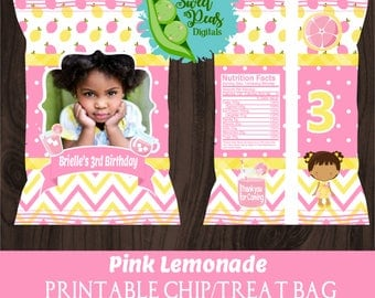 Pink Lemonade Birthday Printable Chip/Treat Bags