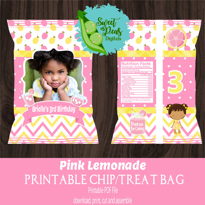 Pink Lemonade Birthday Printable Chip/Treat Bags