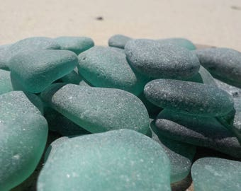 "20 pcs Teal Genuine Sea glass Bulk- Bluish green Shades-Size 0.6-1""-Jewelry quality-For Mosaic making, Jewelry Art- Glass Home Decor#55B#"