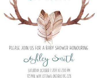 Rustic Boy Baby Shower Invitation - Digital Print - Baby Shower Invitation - Antlers