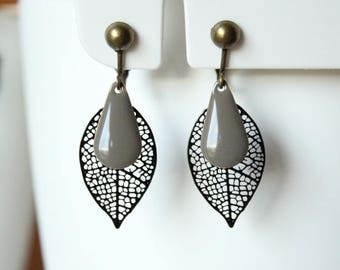 Taupe leaf filigree black and gray enamel sequin drop clip earrings
