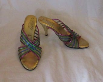Pair of Gold Heeled Mules, US Size 6M