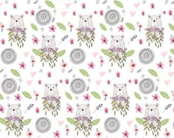 Floral Bear Baby or Toddler Blanket - Floral Minky Blanket - Baby Girl Crib Bedding - Toddler Bedding - Minky Toddler Blanket - Pink Bears